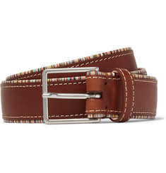 Paul Smith 3cm Stripe-Trimmed Tan Leather Belt
