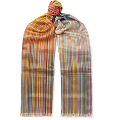 Paul Smith Striped Wool and Silk-Blend Scarf