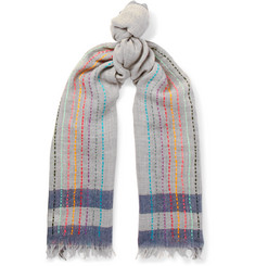 Paul Smith Embroidered Striped Wool Scarf