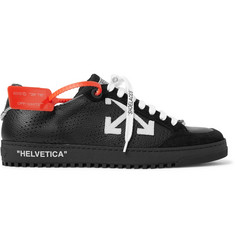 Off-White Low 2.0 Suede-Trimmed Full-Grain Leather Sneakers