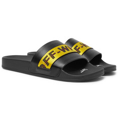 Off-White - Logo Webbing-Trimmed Leather Slides