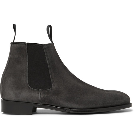 KINGSMAN + George Cleverley James Suede Chelsea Boots - Gray