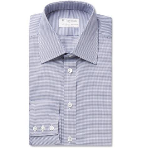 KINGSMAN + Turnbull & Asser Navy Puppytooth Cotton Shirt