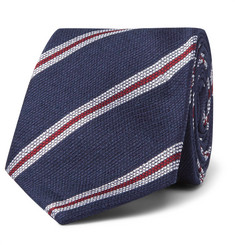 Kingsman 8cm Striped Silk and Linen-Blend Tie