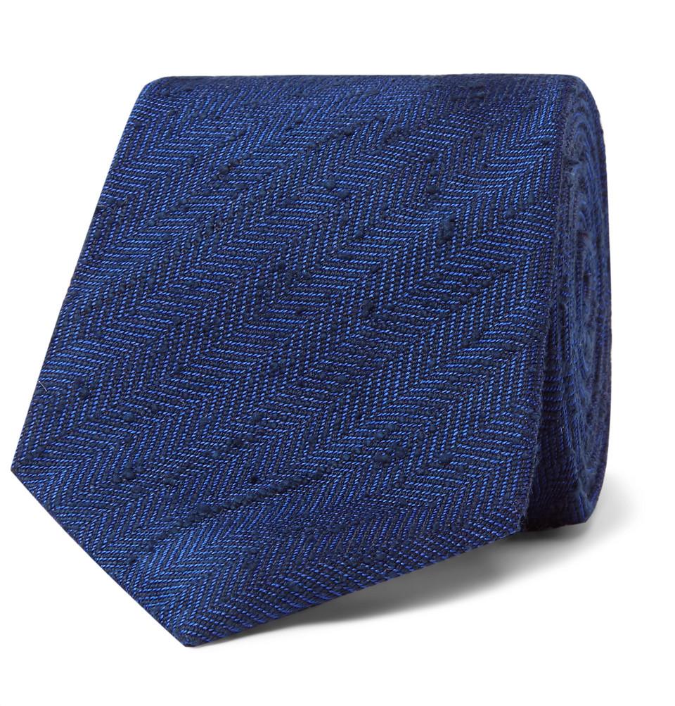 Billede af 8cm Herringbone Slub Silk Tie - Indigo