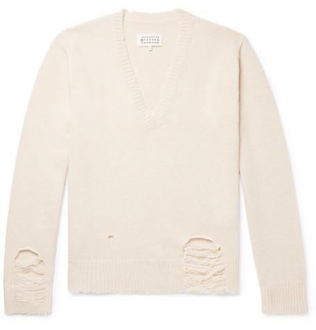 Oversized Distressed Wool Sweater by Maison Margiela