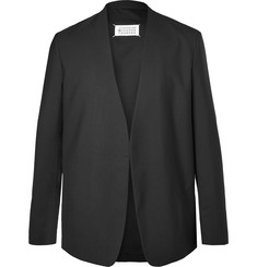 Maison Margiela Black Collarless Virgin Wool Blazer