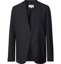 Maison Margiela Midnight-Blue Collarless Felt-Trimmed Pinstriped Wool Blazer