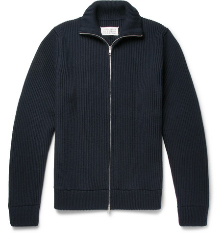 Ribbed Virgin Wool Zip Up Cardigan by Maison Margiela