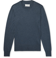 Maison Margiela Slim-Fit Suede Elbow-Patch Cotton and Wool-Blend Sweater