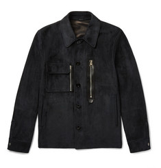 TOM FORD - Leather-Trimmed Suede Jacket