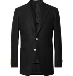 탐 포드 Tom Ford Black OConnor Slim-Fit Wool and Mohair-Blend Hopsack Blazer,Black