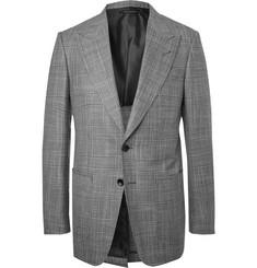 탐 포드 Tom Ford Grey Shelton Slim-Fit Prince of Wales-Checked Wool and Silk-Blend Blazer,Gray