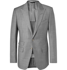 탐 포드 Tom Ford Grey OConnor Slim-Fit Wool-Sharkskin Suit Jacket,Gray
