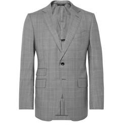 탐 포드 Tom Ford OConnor Slim-Fit Prince of Wales Checked Wool Suit Jacket,Gray