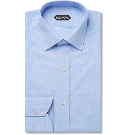 LIGHT-BLUE SLIM-FIT PUPPYTOOTH COTTON SHIRT from MR PORTER