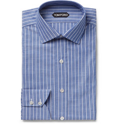TOM FORD Blue Slim-Fit Striped Cotton-Poplin Shirt
