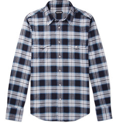 TOM FORD - Micky Checked Cotton-Flannel Shirt