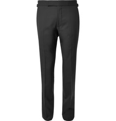 TOM FORD Black Slim-Fit Satin-Trimmed Wool Tuxedo Trousers
