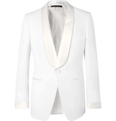 TOM FORD White O'Conor Slim-Fit Satin-Trimmed Wool and Mohair-Blend Tuxedo Jacket