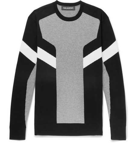 Intarsia Cotton Sweater by Neil Barrett