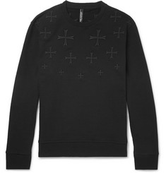 Neil Barrett Embroidered Loopback Cotton-Jersey Sweatshirt