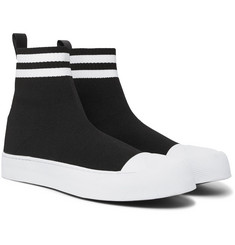 Neil Barrett Leather-Trimmed Stretch-Knit High-Top Sneakers