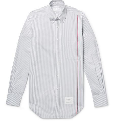 Slim-fit Button-down Collar Striped Cotton-poplin Shirt