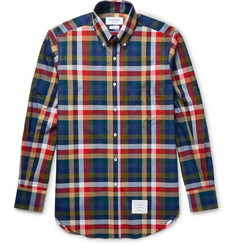 Thom Browne Slim-Fit Button-Down Collar Checked Cotton-Poplin Shirt