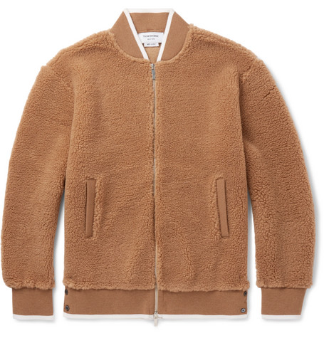 THOM BROWNE CAMEL HAIR AND SILK-BLEND BOMBER JACKET