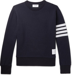 Thom Browne Striped Cashmere and Cotton-Blend Sweater