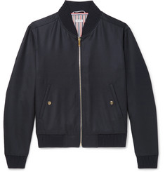 Thom Browne Grosgrain-Trimmed Wool-Twill Bomber Jacket
