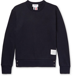 Thom Browne Stripe-Trimmed Loopback Cotton-Jersey Sweatshirt