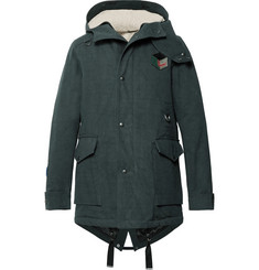 Lanvin Appliquéd Cotton-Twill Hooded Parka with Detachable Faux Shearling Lining