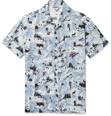 Camp Collar Printed Matte Satin Shirt by Lanvin