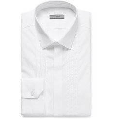 Lanvin - White Slim-Fit Bib-Front Satin-Trimmed Cotton-Poplin Tuxedo Shirt