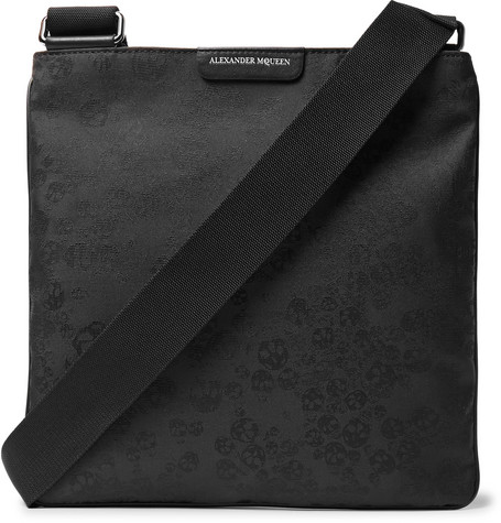 Leather-trimmed Jacquard Messenger Bag Alexander McQueen oR9ke9