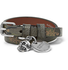 Alexander McQueen Camouflage-Print Full-Grain Leather and Silver-Tone Wrap Bracelet