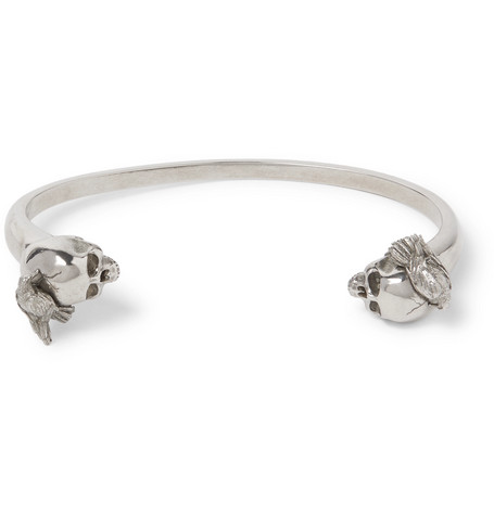 Skull And Raven Silver Tone Cuff by Alexander Mc Queen