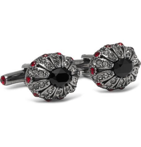 Silver-tone Swarovski Crystal Cufflinks