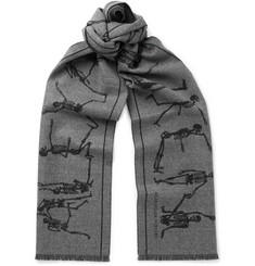 Alexander McQueen Fringed Intarsia Felted Wool Scarf