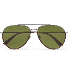 Bottega Veneta Aviator-Style Tortoiseshell Acetate and Silver-Tone Sunglasses