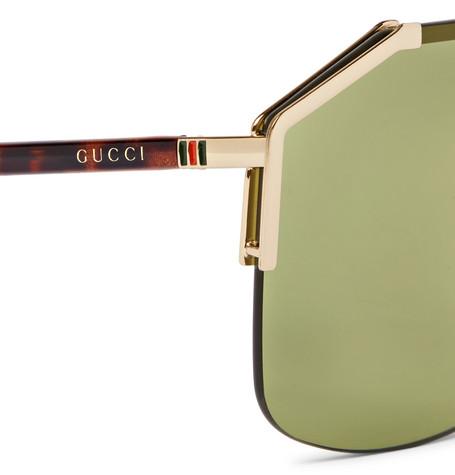 630f691092bf ... Gucci Endura Oversized Aviator-Style Gold-Tone and Tortoiseshell  Acetate Sunglasses