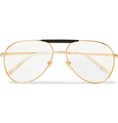 Gucci - Endura Aviator-Style Acetate and Gold-Tone Optical Glasses