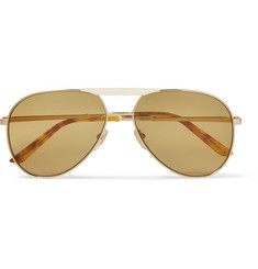 Gucci - Endura Aviator-Style Gold-Tone and Horn-Effect Sunglasses
