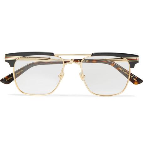 c65543d7c47 Gucci Endura Square-Frame Gold-Tone And Acetate Optical Glasses ...