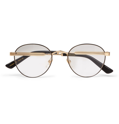 e074b9673e6 Gucci Round-Frame Gold-Tone And Enamel Optical Glasses ...
