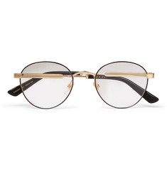 Gucci - Round-Frame Enamelled Gold-Tone Optical Glasses