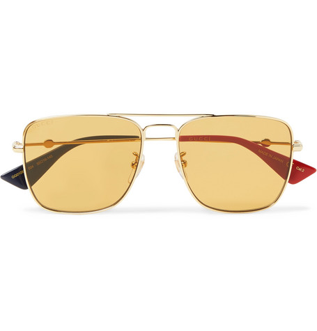 Aviator Style Gold Tone Sunglasses by Gucci