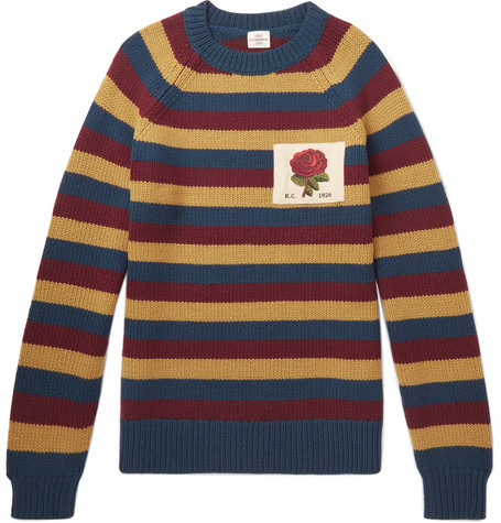 KENT & CURWEN Appliquéd Striped Wool Sweater